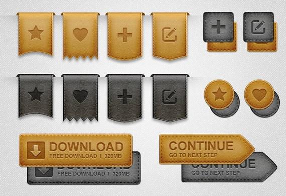 Emblemas-cintas-y-elementos-web-de-cuero-en-PSD