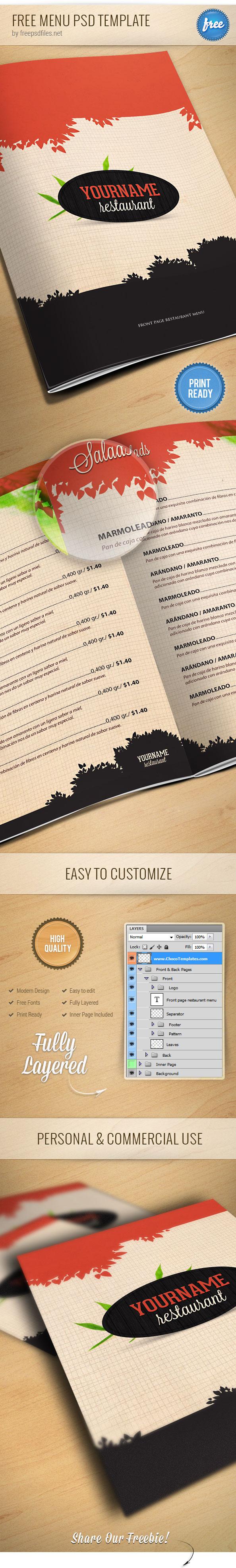 Carta de restaurante en PSD