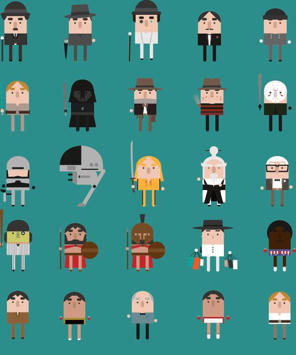 personajes de cine en diseño flat