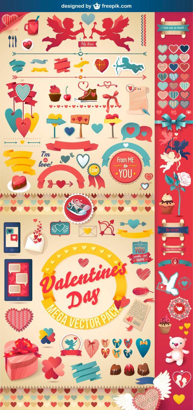 pack vectorial para san valentín
