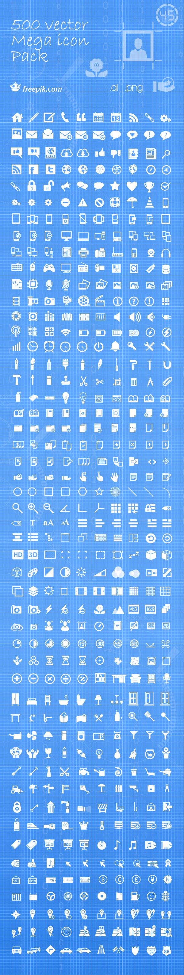 500 iconos vectoriales gratis