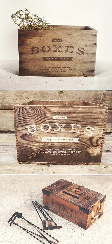 mockup de cajas de madera