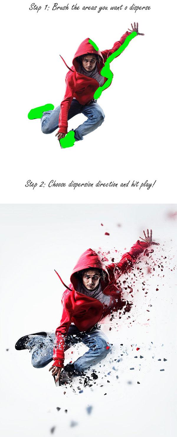 Acción de dispersión para Photoshop