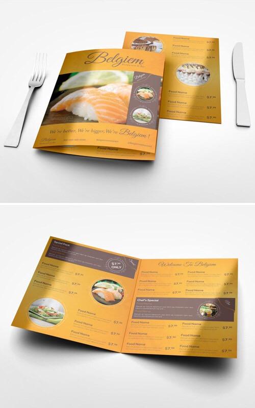 mockup para menú de restaurante gratis