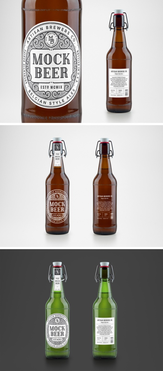 Mockup para botella de cerveza